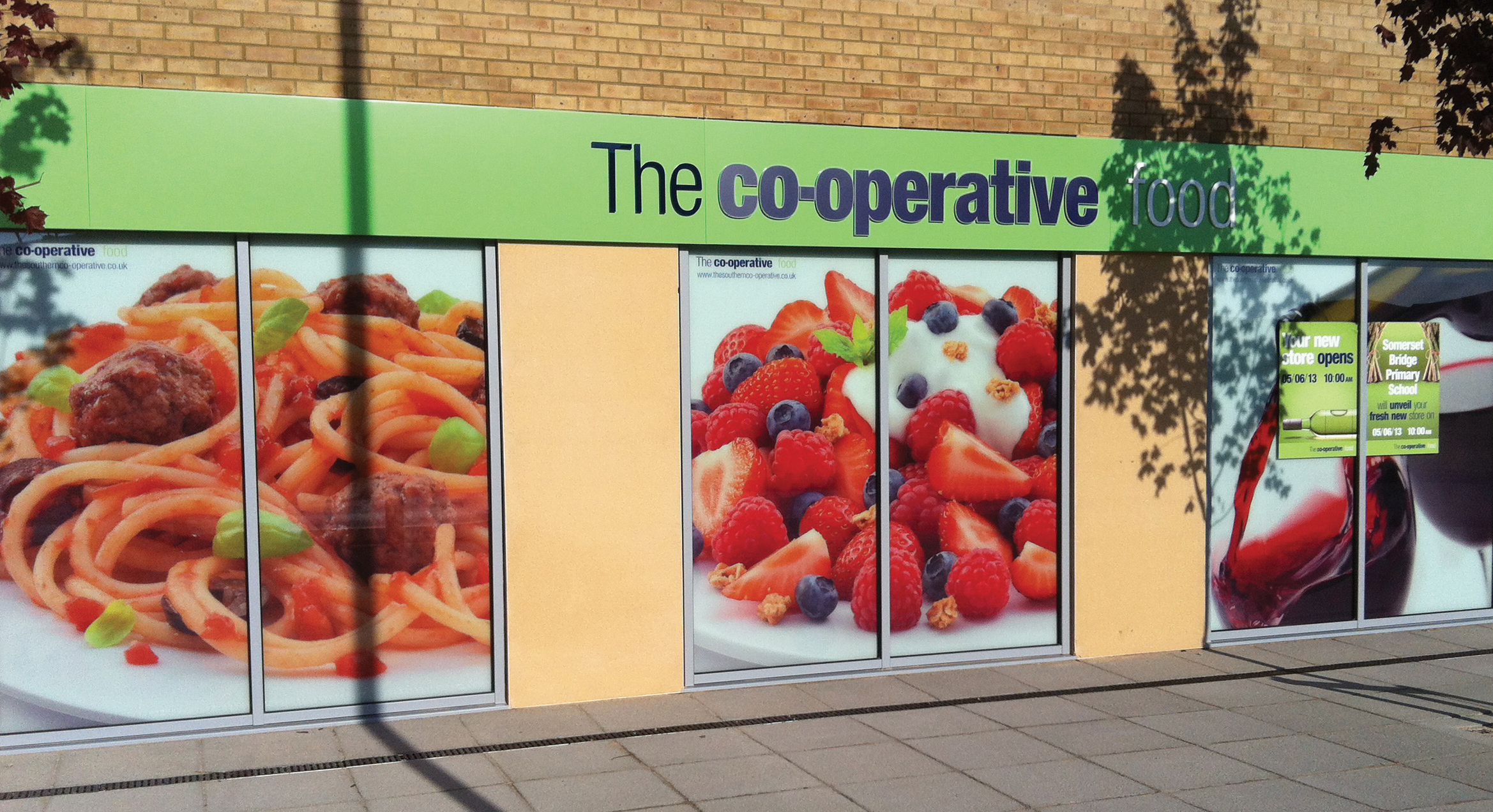 The co-operative food signage and window stickers