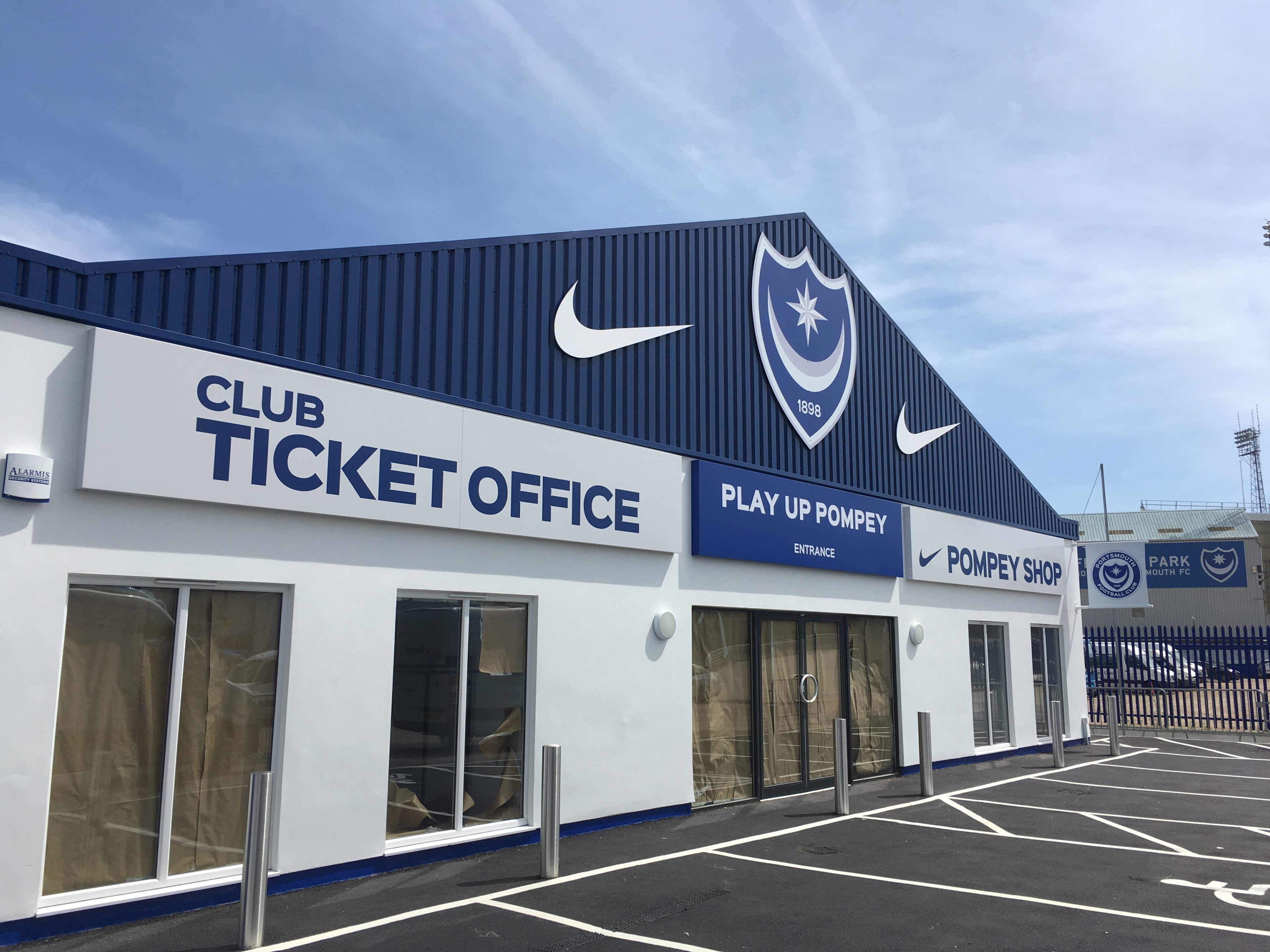 Portsmouth Football club shop and ticket office signage