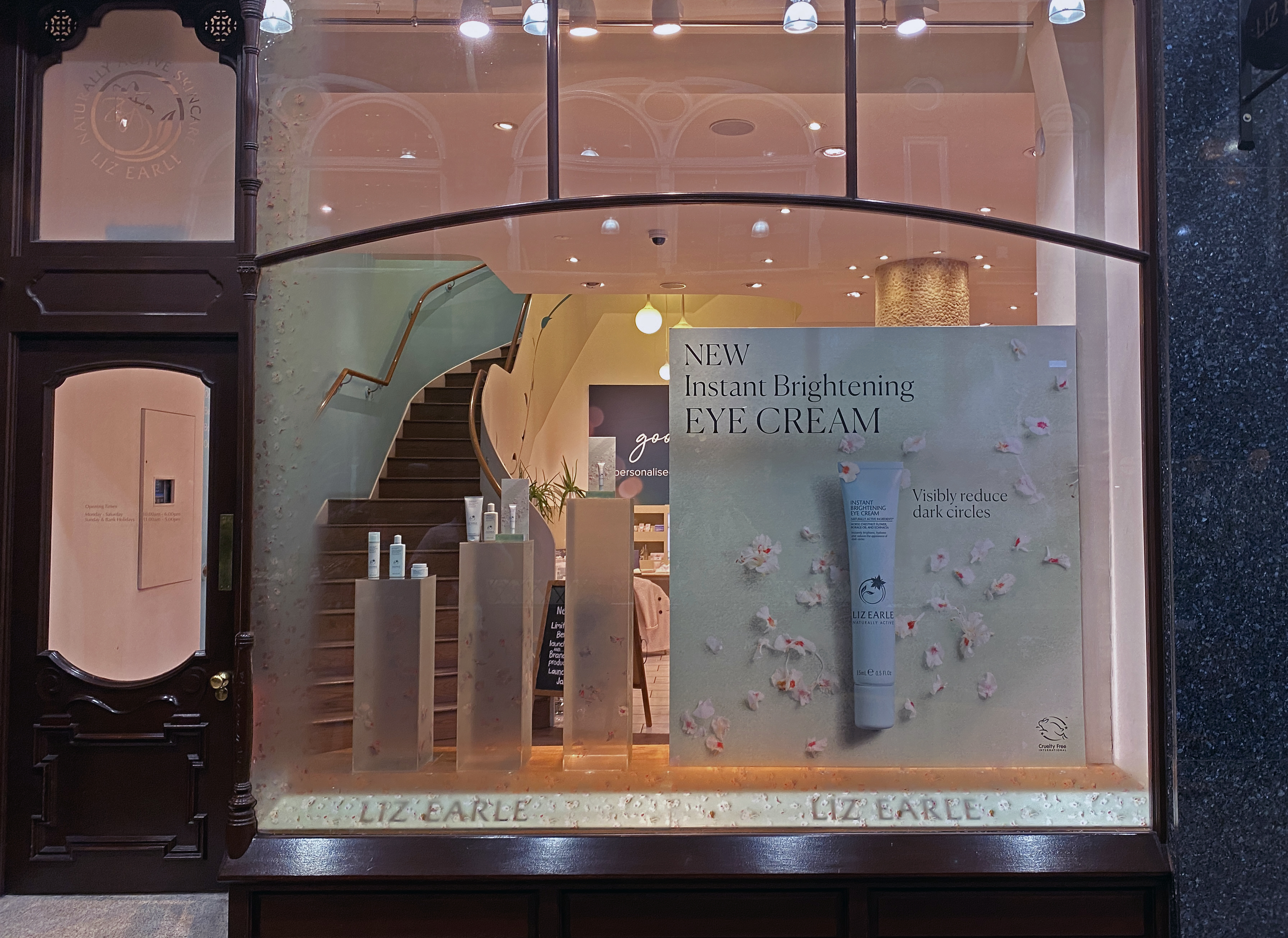 Liz Earle window display signage and stands