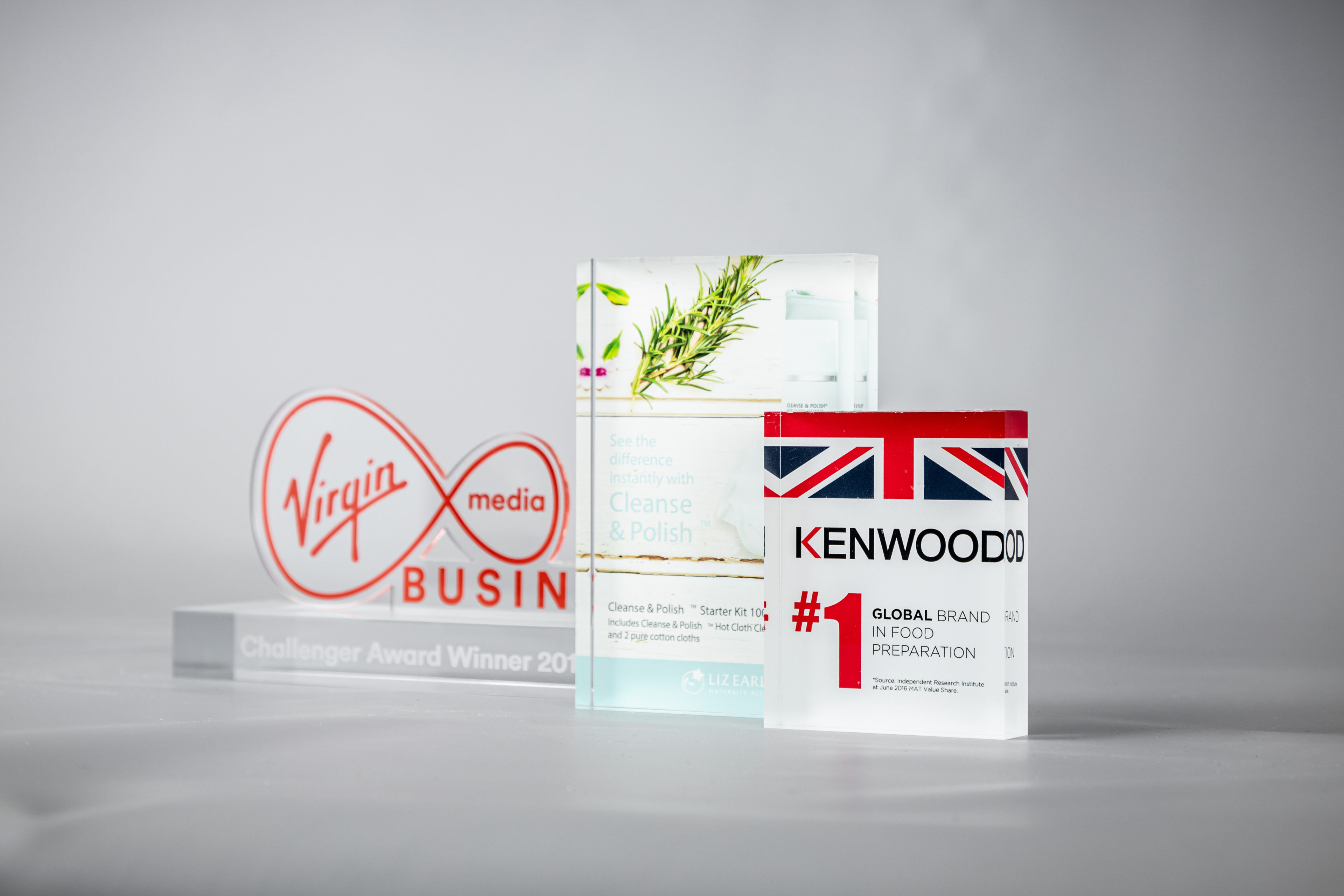 Virgin Media business awards trophies