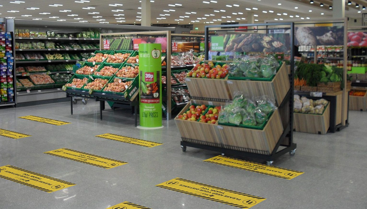 Supermarket till floor mats for social distancing