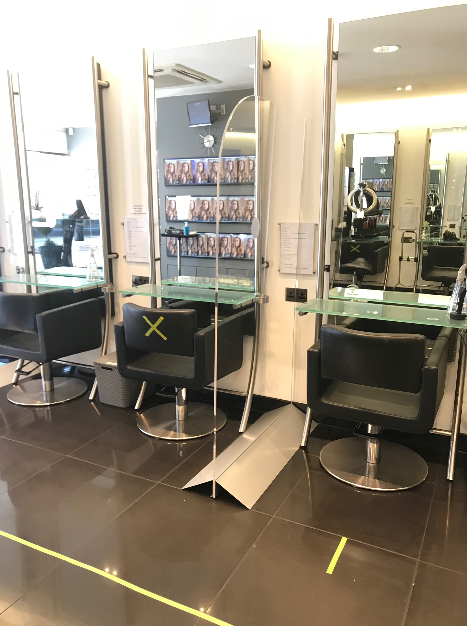 Clear plastic screens for hairdressers